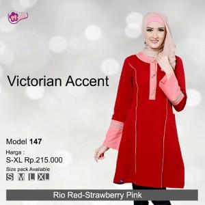 Tunik Mutif MTIF - 147C Rio Red - Strowbery Pink