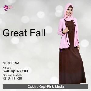 Gamis Mutif MTIF - 152A Coklat Kopi - Pink Muda