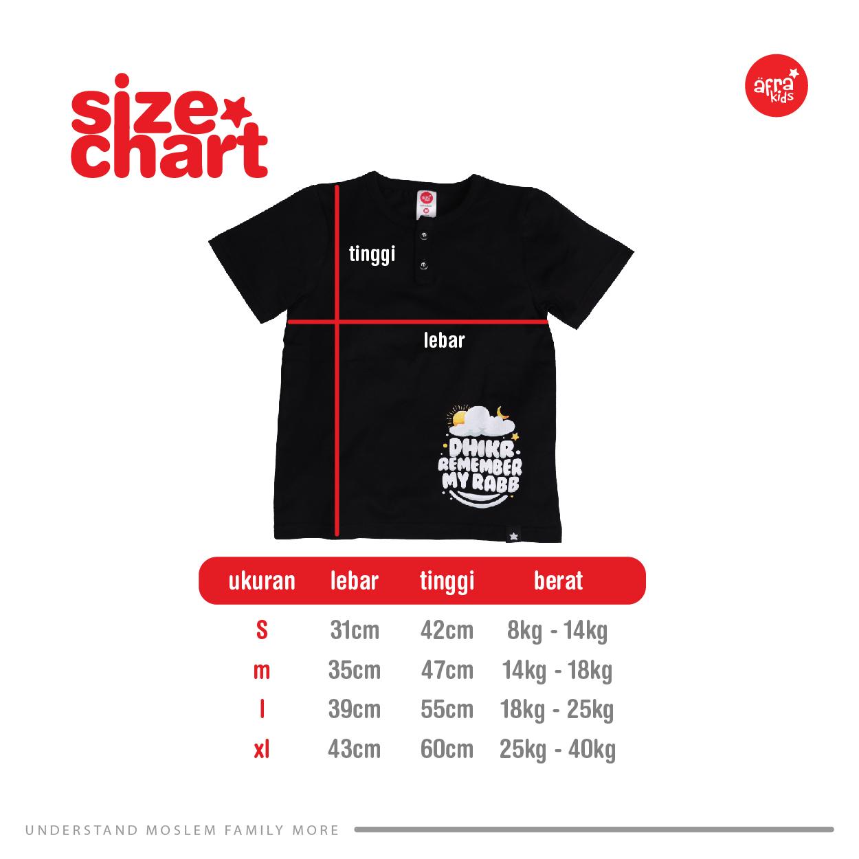 Size Chart Kaos Anak Muslim Afrakids