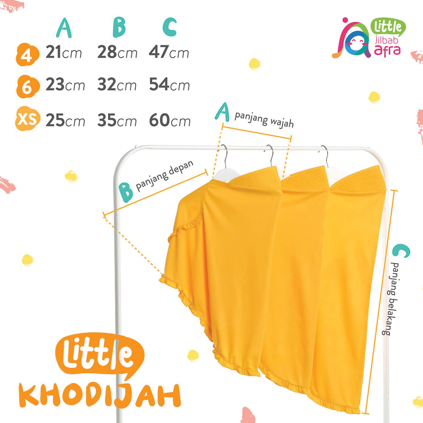 Size Chart Jilbab Anak Little Khodijah
