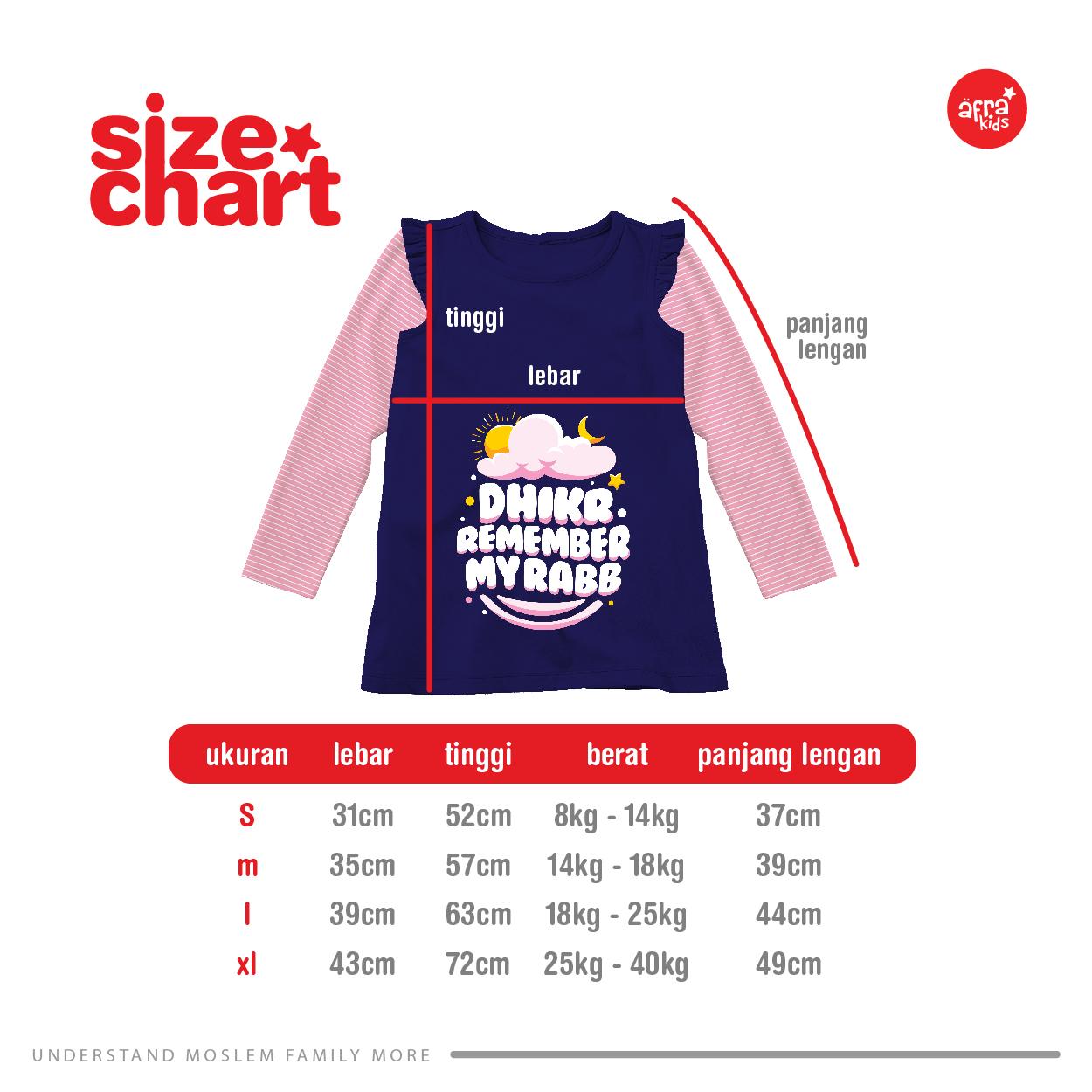 Size Chart Kaos Tunik Anak Muslim Afrakids