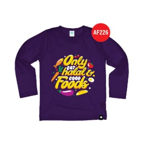 Kaos Anak Muslim Afrakids AFRA - AF226 Only Eat Halal And Good Foods