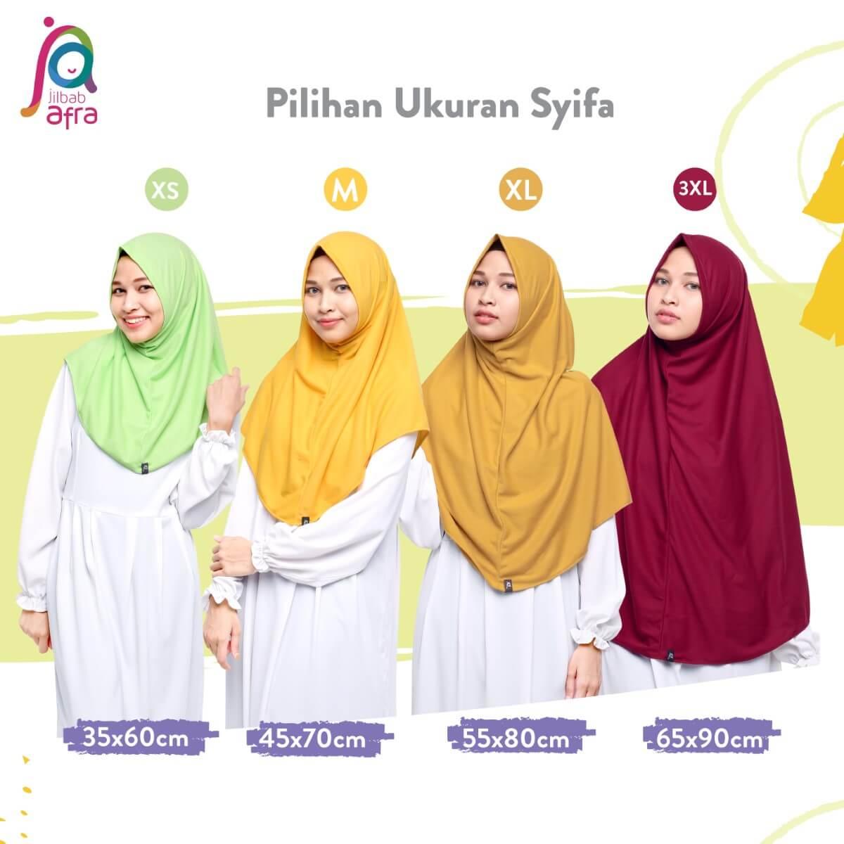 Size Chart Jilbab Afra Syifa