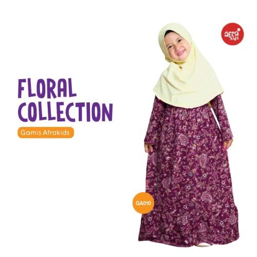 Gamis Anak Afrakids AFRA - GA010 Floral Maroon