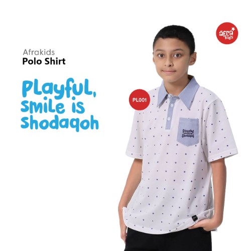 Polo Shirt Anak Afrakids AFRA - PL001 Playful, Smile is Sodaqoh