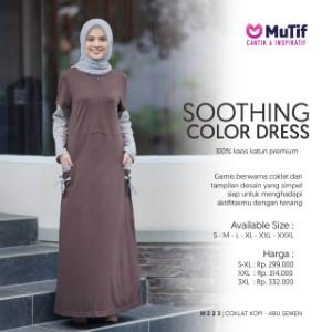 Gamis Dewasa Mutif MTIF - 223 A Coklat Kopi - Abu Semen