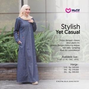 Gamis Dewasa Mutif MTIF - Calya A Jeans Motif