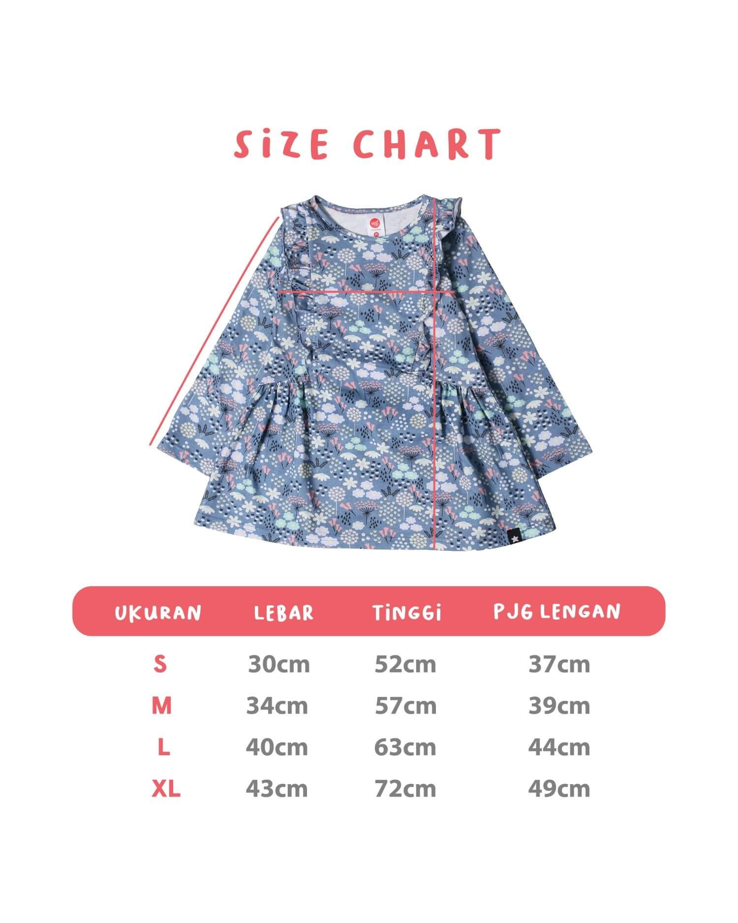Size Chart Kaos Tunik Afrakids TP001