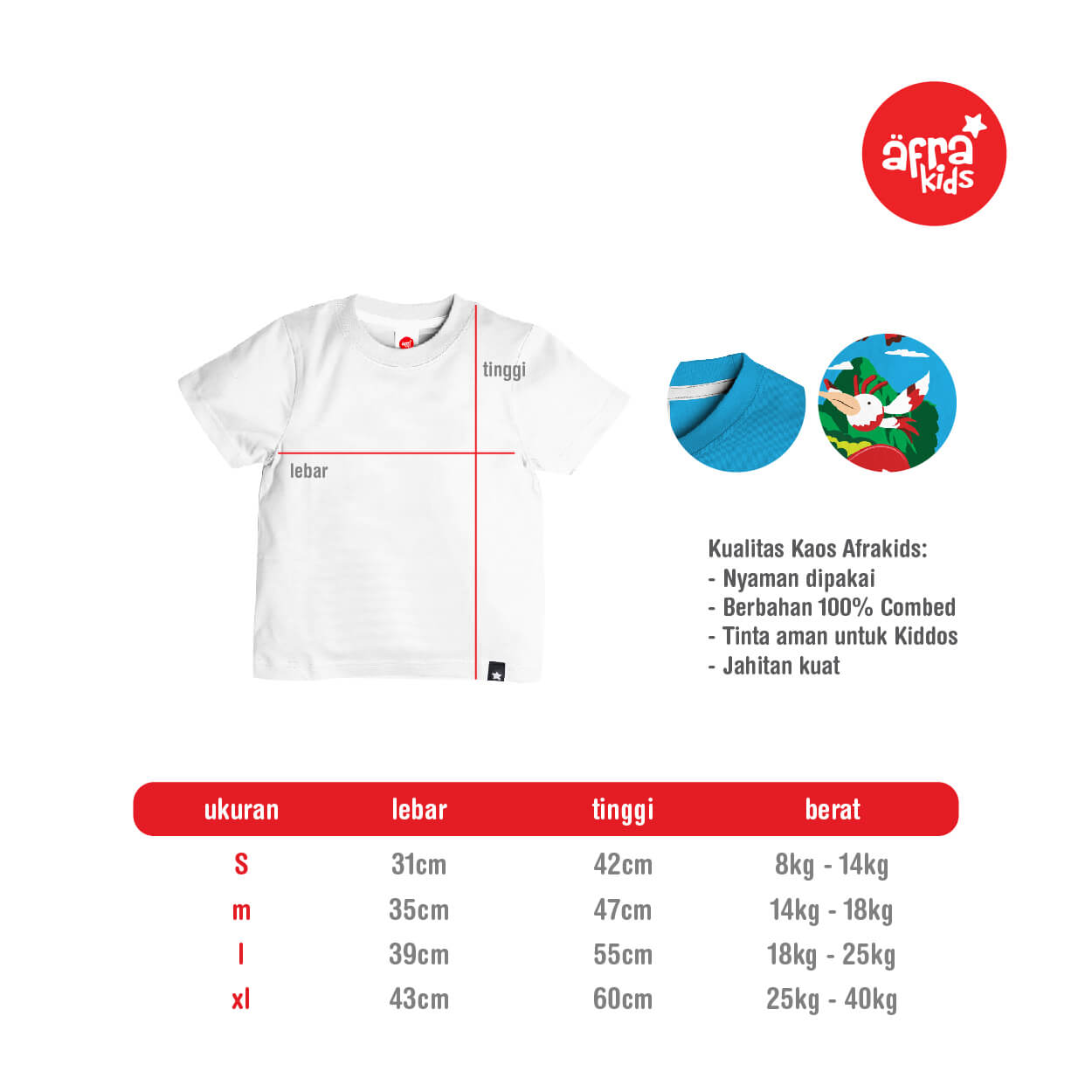 Size Chart Kaos Pendek Afrakids