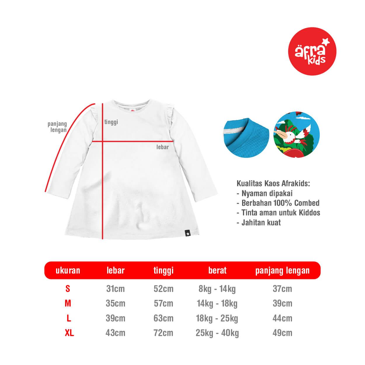Size Chart Kaos Tunik Afrakids