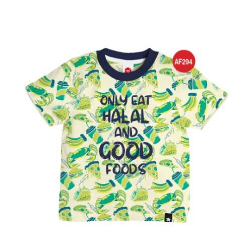 Kaos Anak Muslim Afrakids AFRA - AF294 Only Eat Halal And Good Foods